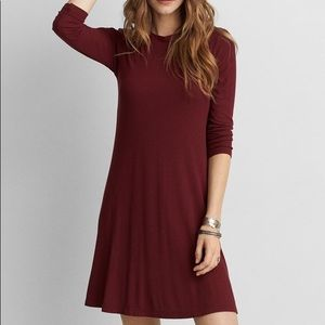 8961644ab2b9 American Eagle Outfitters Dresses - AEO maroon ribbed long sleeve Swing  dress